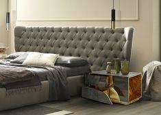 TOP 10 Luxusbetten für Schlafzimmer   Grau Bett Kopfteil zu ein moderne Schlafzimmer. Design von Boca do Lobo   #Luxus #topinneneinrichtung #dekoideen