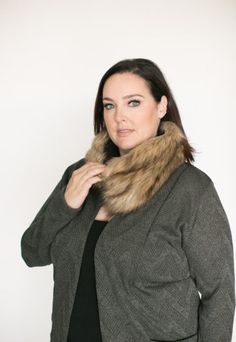 This faux fur scarf is hitting the site in the next little bit! Watch for this and plenty of other gorgeous ones soon! (And this cardi will launch soon after that too! Cowl, Faux Fur, Fur Scarves, Fur Coat, Product Launch, Turtle Neck, Fall 2016, Ships, Felt