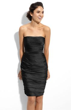 ML Monique Lhuillier Bridesmaids Strapless Ruched Cationic Chiffon Dress (Nordstrom Exclusive) available at Nordstrom