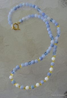 """19"""" beaded necklace. Frost agate, Swarovski crystals & glass."""