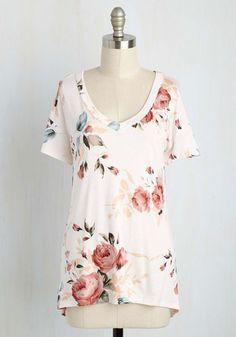 #AdoreWe #ModCloth Top - ModCloth Florist's Apprentice Floral T-Shirt in Ivory - AdoreWe.com