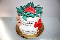 #torta #laurea #ostetricia #alloro #rose #degree #cake