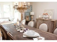 farm table and my chairs...refinished like this.