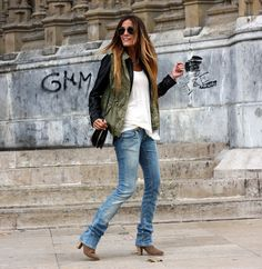 Rebel attitude ~ army green, tan boots, light jeans