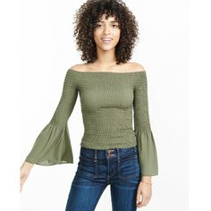 Express Smocked Off The Shoulder Bell Sleeve Blouse featuring polyvore, women's fashion, clothing, tops, blouses, blue, express blouses, blue blouse, green blouse, bell sleeve tops and off shoulder blouse