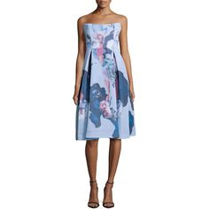Nicholas Strapless Mesh Ball Dress ($555) ❤ liked on Polyvore featuring dresses, painted floral, blue print dress, open back cocktail dress, floral cocktail dress, full skirt and blue dress