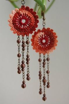 """""""Ruffled Circle with 3 strands of beads Earrings""""...no pattern but beautiful idea!"""