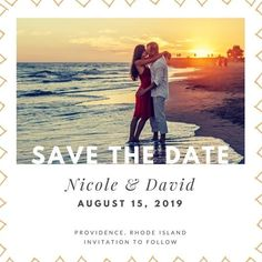 Triangle Border Photo Save the Date Announcement Printable David August, Save The Date Invitations, Rhode Island, Announcement, Triangle, Dating, Printable, Movie Posters, Quotes