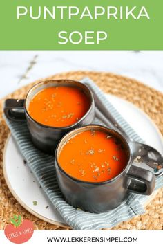 Pointed pepper soup - Ready in 25 minutes! - Tasty and Simple - recipes - Dutch Recipes, Soup Recipes, Cooking Recipes, Stuffed Pepper Soup, Stuffed Peppers, Halloumi, Vegetarian Recepies, Good Food, Yummy Food