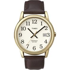 Timex Men's Easy Reader Brown Leather Strap Watch | Overstock.com Shopping - The Best Deals on Timex Men's Watches