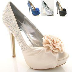 Ladies Womens High Heel Platform Diamante Peeptoe Bridal Bride Prom Shoes   eBay