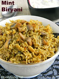 Mint mushroom biryani recipe / easy mint biryani is a flavorful one pot meal that can be done very quickly in cooker. Goes well with raita or potato kurma.