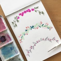 Motivi floreali ad acquerello . . . #watercolor #botanical #wreath #decoration #flowers #acquerello