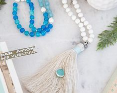 Greek blue 108 mala beads necklace, coral, agate & jade semi precious stones, silver charms, gemstones, yoga gift, meditation, present