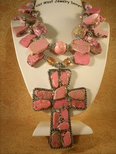 Christian Cowgirl Chunky Pink Turquoise Cross by Outwestjewelry