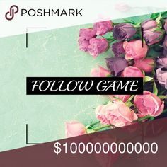 My 1st Follow Game! I'm new to Posh! Please like, follow and share! 🤗🤗🤗 Any advice is welcome! Let's watch each other grow! Follow game. Tag your PFF's! I don't have any yet 😅 Accessories
