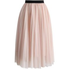 Chicwish Dreamy Pink Mesh Pleats Tulle Skirt ($48) ❤ liked on Polyvore featuring skirts, pink, layered skirt, pink tulle skirt, mesh skirt, knee length tulle skirt and elastic waist skirt
