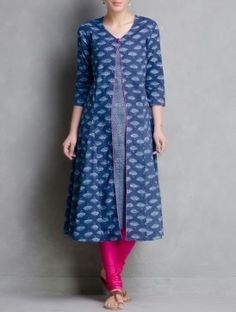Indigo Hand Block Printed Layered Cotton Kurta by Aavaran