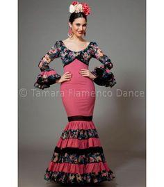 Soleares fuxia y negro con flores - trajes de flamenca 2016 mujer - Aires de Feria