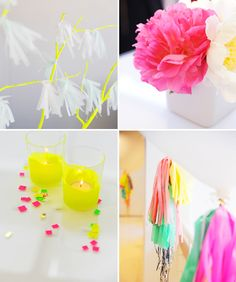 Detalles creativos para una fiesta neón / Creative details for a neon party