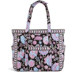 Vera Bradley Get Carried Away Tote in Alpine Floral ($92) ❤ liked on Polyvore featuring bags, handbags, tote bags, alpine floral, totes, plastic totes, vera bradley handbags, quilted tote, zip tote and white tote bag