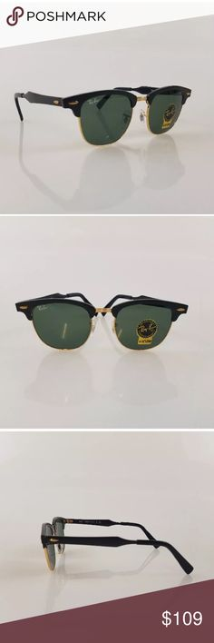 Ray-Ban aluminum clubmaster classic black frame RB 3507 COLOR CODE: 136/N5   LENS WIDTH: 51MM  LENS COLOR: GRADIENT GREEN G-15  FRAME COLOR: BLACK Ray-Ban Accessories Sunglasses