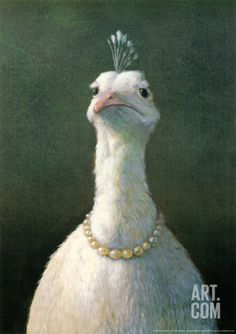 I can't stand how cute this is!!!  Where in the world could I put this in my house?!  Fowl with Pearls Print by Michael Sowa at Art.com