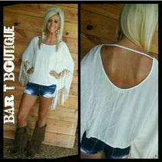 Fringe Fabulous Top ~ be sure to follow @bar_t_boutique on Instagram for weekly New arrivals