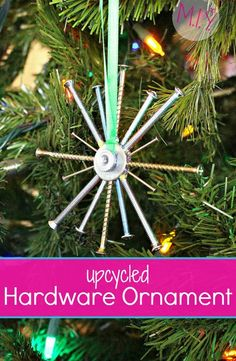 Easy Upcycled Hardware Snowflake Ornament. Looking for a the perfect gift for your favorite handyman or handylady? This ornament can be made in minutes and for less than a couple of bucks!