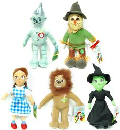 """Set of 5 includes:    1x Tin Man  1x Dorothy  1x Cowardly Lion  1x Wicked Witch  1x Scarecrow  15"""" scale plush  Officially licensed  Soft polyester fiber construction  Great for Wizard Of Oz fans of all ages  Brand new with tags  Makes a great gift set"""