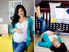 Maternity Pictures in babys room....cute idea