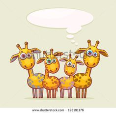 Cartoon animal family - four funny yellow giraffes looking with surprise and thinking about something. - stock vector