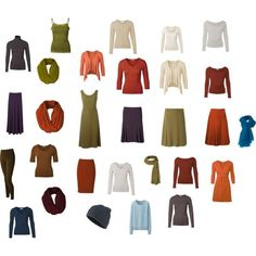 Capsule wardrobe for Soft/warm colouring-most of this looks good for true/warm autumn but a few pieces are cool-wtf powder blue?