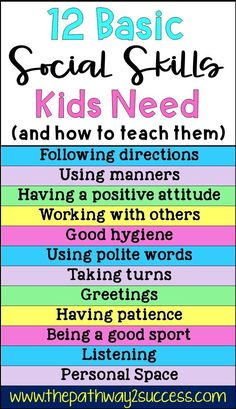 Basic social skills kids and teens need along with several activities for how to teach them Use these free ideas to help students improve skills for listening taking turn. Social Skills Lessons, Social Skills For Kids, Social Skills Activities, Teaching Social Skills, Social Emotional Learning, Life Skills Kids, Character Education Lessons, Childcare Activities, Group Activities