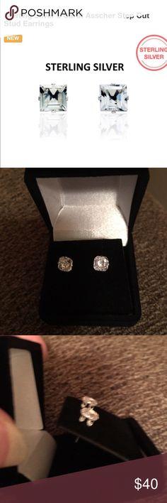 SWAROVSKI ASSCHER CUT STUDS NEW 2 CTW SWAROVSKI ASSCHER CUT ELEMENTS MEASURES APPROX 6MM SET IN SOLID STERLING SILVER WITH BUTTERFLY BACKS includes black velvet gift box Swarovski Jewelry Earrings