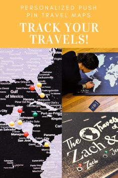 Check out this beautiful personalized push pin map and track all of your travels!  Our black and grey world map will allow you to show off all the places you've been, plus it comes with 1,000 pins!  Make yours today!