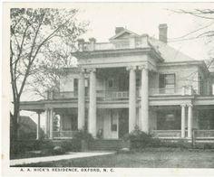 A.A. Hick's Residence, Oxford, N.C.  North Carolina Postcards