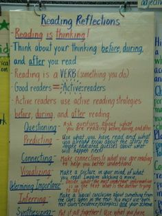 Reading is Thinking...  This would be a good chart to make and add to as you teach the skills/strategies