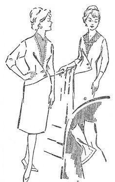 FREE Vintage Asymmetric Dress Sewing Draft Pattern.  Dress draft on Russian language site. Site has many nice 1950s dress drafts.