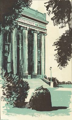 Watercolor of Johnson Hall at the UO 1931.  From the 1932 Oregana (University of Oregon yearbook).  www.CampusAttic.com