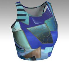 Womens Yoga Crop Top Blue Exercise Top Ladies Stretch Top #yoga #croptop #yogatop #workouttop #cooltop #gymtop #tops #colorful #fitness #exercisetop  #gym #outerwear #art #originalpaintng #streetartist #clothing #unisex  #cool #fashionista #lifestyle #fashion #musthave #gift #abstract #modern #contemporary #unique #artista #accessories  #women #sexy #graffiti #streetart #cutetop #bluetop #blueblouse #blue