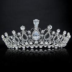 Barato Oversize Cristal Noiva Acessório Do Cabelo Do Casamento Tiaras E Coroa…