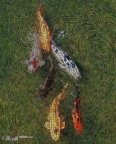 Koi | Mosaic great movement in the water and love the soft drop shadows to lend that sense of depth
