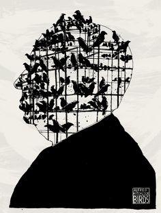 """Alfred Hitchcock """"The Birds"""" by Simon Prades #Gif  [cliccate sull'immagine per vedere l'animazione]"""
