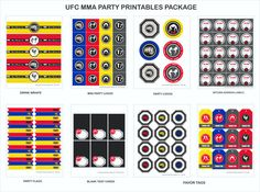 UFC MMA  Party Printables package.