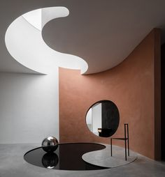 Showroom Interior Design, Interior Architecture, Yin Yang, Space Planning, Mug Design, Inspiration Design, Modern Frames, Simple Colors, Light Beige