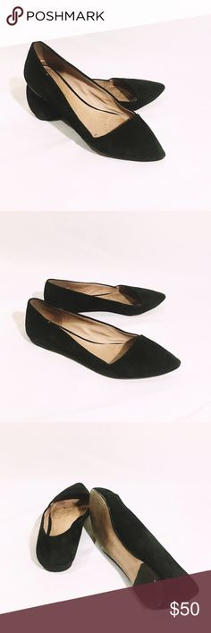 MADEWELL black suede flats In great condition, worn a handful of times. Super cute! Great quality authentic genuine suede leather Madewell Shoes Flats & Loafers