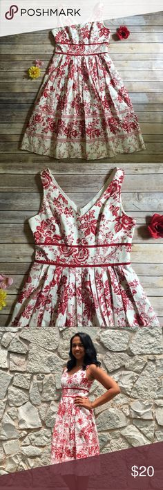 Red/cream floral v-neck dress - Size 6 Beautiful red & cream colored floral dress 🌹 Size 6 but will fit an 8 (see pictures, I'm an 8) - tea length - 100% cotton - this dress is stunning on! No trades. Dresses