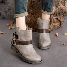 97.75$  Watch here - http://alipvc.worldwells.pw/go.php?t=32738287227 - New fall fashion neutral single boots women Classic leather women shoes with belt buckle Martin boots short boots low heel 97.75$