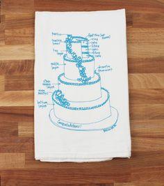 wedding cake tea towel